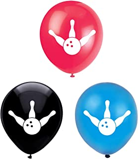 Bowling Latex Balloons, 15-Pack 12inch Bowling Sports Birthday, Retirement Party Balloon, Decorations, Supplies