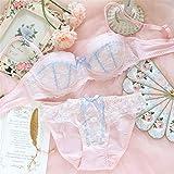 ALXY Kawaii Sexy lencería para Las Mujeres Naughty School Chica Bralettes inalámbricos Bralettes Lindo Arco de Encaje Bras y Panty Set Juniors Teen Lolita Plus Size Up Sujetador Interior
