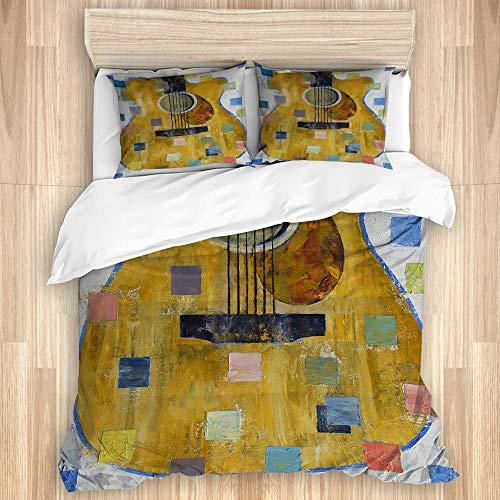 QIUTIANXIU Bettwäsche,König Gitarre Kubismus Gitarre Gitarren Jazz Musik Musikinstrument Ölgemälde,Neu Drucken 1 Bettbezug + 2 Kopfkissenbezug(240 * 260cm)