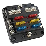 6-Way Fuse Block, Negative Bus Fuse Box with Damp-Proof Cover and LED Warning Indicator, DC 12-24V Boat Fuse Panel, Fuse Holder for Vehicle Car Buses