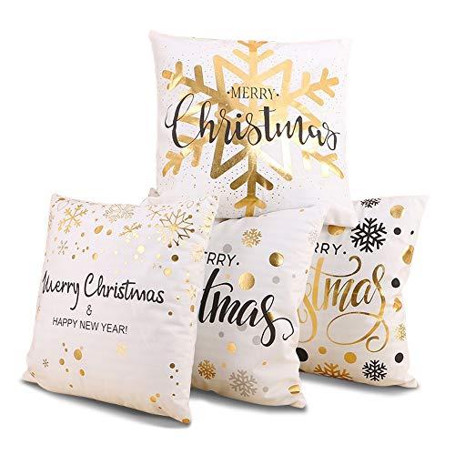 IWILCS 4 Stück Kopfkissenbezug mit Heißprägung, Goldprägung Muster Weihnachten Kissenbezüge, für Zuhause und Sofa, Schlafzimmer Dekoration, 45x45cm