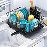BASSTOP Dish Drying Rack, Dish Drainer for Kitchen Rustproof Dish Dryer Rack for Countertop with Removable Utensil Holder and Adjustable Swivel Spout, Dish Drainer in Sink, Organization Storage Shelf