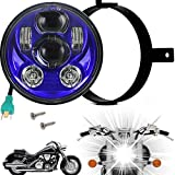 Eagle Lights 5.75 inch Generation III LED Headlight Kit with Bracket and Hardware Replacement for Honda VTX 1300 & 1800 (Blue)