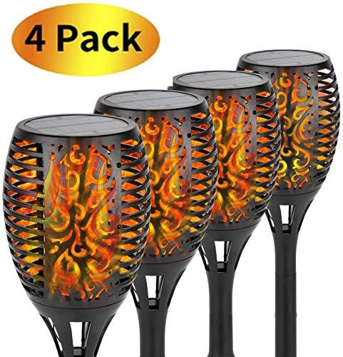 joyliveCY Solarleuchte Gartenfackeln,Garten Flammen Fackeln,96 LED IP65 Wasserdicht Outdoor für Hinterhöfe Gärten Rasen Beleuchtung,4 Pack
