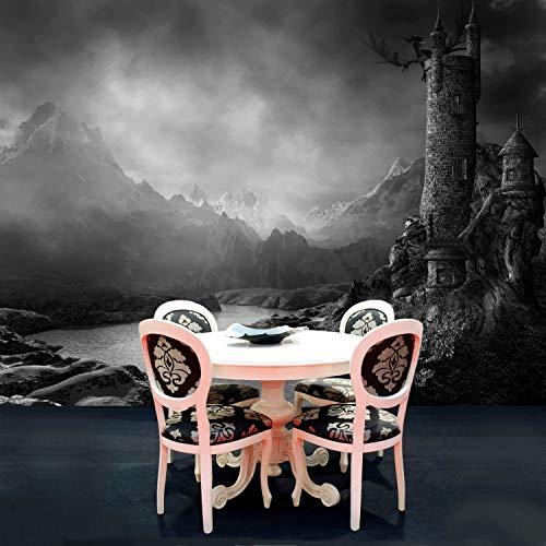 Vlies Tapete Poster Fototapete Fantasy Dunkler Turm Farbe schwarz weiß, Größe 300 x 220 cm selbstklebend