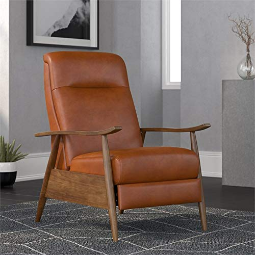 Comfort Pointe Solaris Caramel Brown Faux Leather Wooden Arm Push Back Recliner Chair