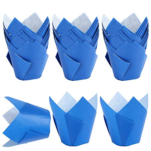 TRUSBER Tulip Cupcake Liners,150pieces Baking Cups Baking Cup Holders and Muffin Baking Cups for Wedding, Birthday, Christmas, Baby Shower Parties (Blue)