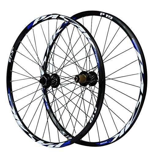ZNND 27.5in Bicycle Wheelset,15/12MM Barrel Shaft Mountain Bike Bicycle Wheel Set Disc Brake 7/8/9/10/11 Speed (Color : Blue, Size : 27.5in/15mmaxis)