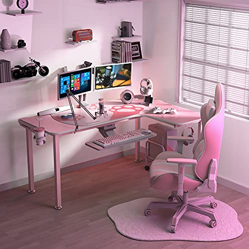 EUREKA ERGONOMIC L Shaped Desk,60 Inch L-Shaped Pink Corner Desk, Study Writing Table for Home Office Wood & Metal,Cute Gaming Desk with Free Mouse Pad for Girls, Space-Saving, Easy to Assemble, Pink