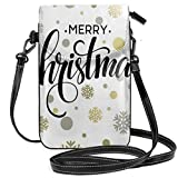Trista Bauer Borsa a Tracolla Piccola per Cellulare da Donna, Scritte stilizzate di Buon Natale su Fiocco di Neve Moderno Astratto DOT Pattern