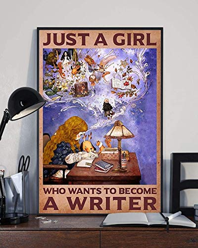 Just A Girl Who Wants to Become A Writer Canvas Art Canvas 0.75 Inch Print Size 8x12, 12x18, 16x24, 24x36 Inches