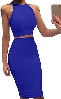 GOBLES Women Sleeveless Bodycon 2 Piece Midi Skirt Outfits Halter Cocktail Dress