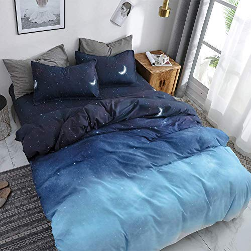 HYPREST Blue Duvet Cover Queen Size, Star Moon Printed Cooling Summer Aesthetic Duvet Cover Set,Soft Cute Bed Duvet Cover Queen Kids Girls Boys,Oeko-TEX Certificated(1 Duvet Cover 2 Pillowcases)