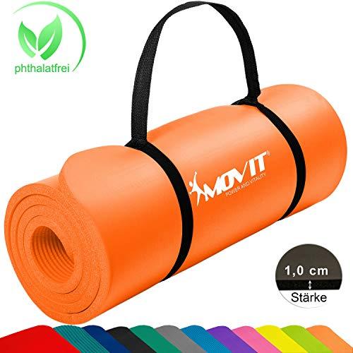 Movit Pilates Gymnastikmatte, Yogamatte, phthalatfrei, SGS geprüft, 183 x 60 x 1,0cm, Yoga Matte in Aprikose