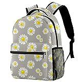 Mochilas escolares de 40,64 cm, bolsa de viaje básica para portátil, diseño de flores de manzanilla