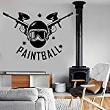 Extremsport Wandaufkleber Aufkleber Paintball Logo Vinyl Geschenk für Jungen Kinderzimmer Dekoration abnehmbare Kunst Wandbild cool 62x42cm