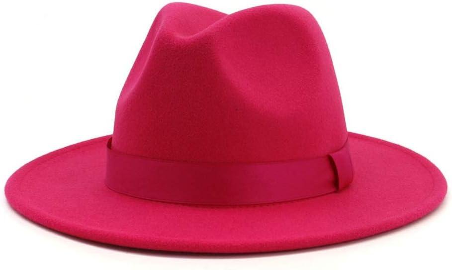 No-branded 2019 Men Women Pink Fedora Hat Wide Brim Hat Church Fascinator Jazz Hat Pop Retro Wide Brim Hat Party Hat ZRZZUS (Color : Pink, Size : 56-58)