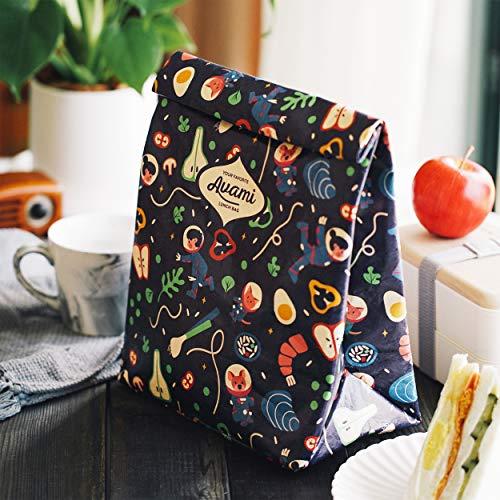 再利用可能 ブラウンペーパーランチバッグ 男性/女性/子供用 - タイベック エコ 保温 高耐久性 漏れ防止 洗える 軽量 断熱性のある茶色い紙袋 保冷 スナックバッグ (Space Multi)