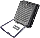 JEGS Aluminum Transmission Pan | Fits GM 700-R4 And 4L60 Transmissions | Black Finned Finish | Overall Depth 3 1/4 Inch Overall Depth