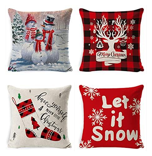 BeingHD Patrón De Navidad De Animación por Funda De Almohada Sofá De Lino Cubierta De Cojín Oficina por Funda De Almohada 4 Juegos 45 * 45cm 1