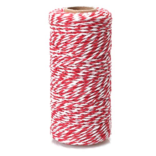 Cotton Bakers Twine - Cotton Twine Packing String Red & White 328 Feet for Gift Wrapping/DIY Crafts/Tying Cake/Pastry Boxes/Baking