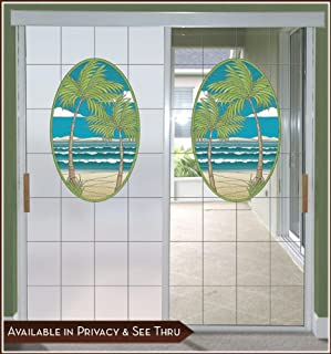 Island Oasis Privacy Window Film Door Panel - Lite Frosted Background 32inch x 86inch Left
