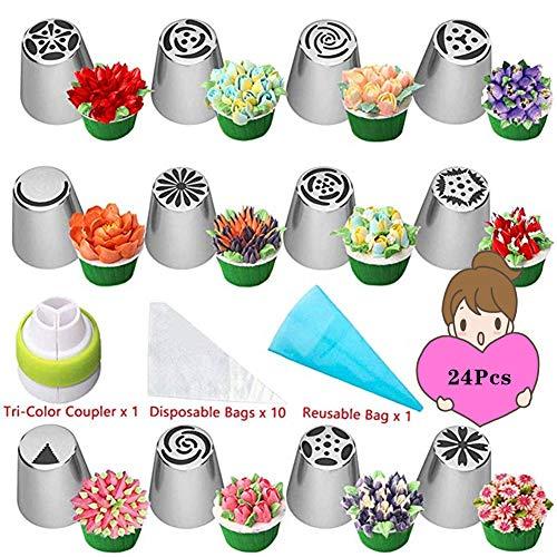 nadamuSun Spritztüllen-Set, 24-teilig, Kuchen- und Cupcake-Dekoration, Spritztüllen in Blumenform, Spritzbeutel und Spritztüllen, 24 Stück 24p