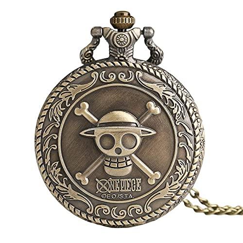 Overlord Reloj de bolsillo de una sola pieza para hombre y mujer, collar de cadena retro steampunk (color: 80 cm cadena 3)