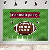 写真撮影のためのHDアメリカンフットボールパーティーの背景シンプルなグリーンスタイルのラグビースポーツの背景7x5ftZYMT0786
