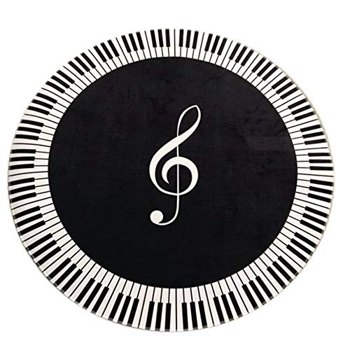 QWDLID Music Symbol Carpet Modern Round Piano Key Rug, Non-Slip Carpet Musical Notes Romantic Instrumental Art, for Living Room Bedroom Dining Room Mat Floor Decoration, 23.6X 23.6 Inch, Black White