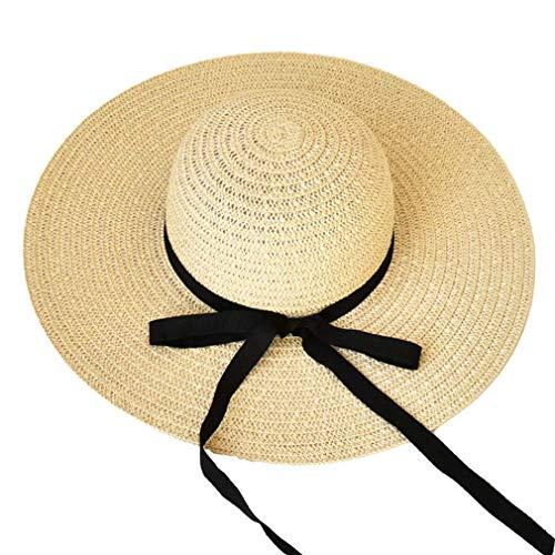 Sombrero para mujer de Chutd, protección contra los rayos UV, ancho de sombrero de paja plegable, para viajes, verano, playa, vacaciones, al aire libre, plegable, ajustable 53 – 57 cm, A. a