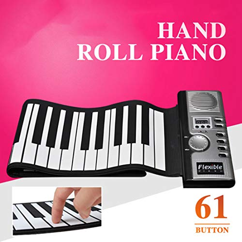 WongPing 61 Keys Electronic Roll Up Piano Portable Standard Grade Silicone Keyboard Piano Upgraded Built-in Amplifying Speakers Great Gift for Kids