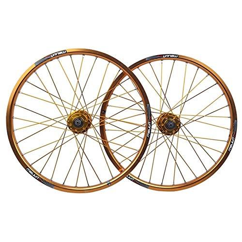 ZFF 20 Pulgadas Pequeña Rueda Bicicleta Juego De Ruedas Freno De Disco Cubo Borde Delantera Trasero Rueda Liberación Rápida 7/8/9/10 Velocidad Casete 32 Hoyos (Color : Gold, Size : 20 Inch)