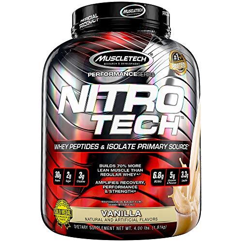 Whey Protein Pulver, MuscleTech Nitro-Tech Whey Protein Isolate & Peptides, Eiweißpulver für den Muskelaufbau, Proteinpulver für Männer und Frauen, Vanille, 1.81 kg (40 Portionen)