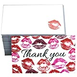 RXBC2011 Little Thank You Cards Lips Thank you for Your Purchase Cards Kiss sweet Package Insert for online business Pack of 100