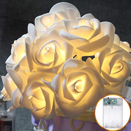 Decoratieve lichtketting, werkt op batterijen, voor binnen en buiten, LED-stof, verlicht, 20 lampen, 2,5 m
