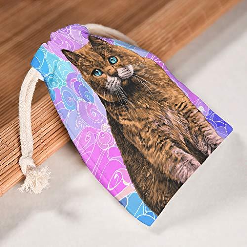 O4EC2-8 12 Stück Organisieren Canvas Kordelzug Tasche Atmungsaktiv Toy Tasche Anzug für Thanksgiving Geburtstag Geschenk Wrap Bag - Design Drucken white 12 * 18cm