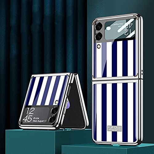DEMCERT for Samsung Galaxy Z Flip 3 5G Glass Case, Ultra Thin Hard 9H Plating Glass Shockproof Color Stripes Phone Cover for Samsung Galaxy Z Flip 3 5G (Blue and White)