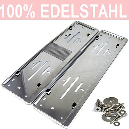 L&P A0198 2 x Kennzeichenhalter in Edelstahl poliert - 100% EDELSTAHL -auch passend für gebogene Stoßstangen- Maße 520 x 120mm für ÖSTERREICH ,DÄNEMARK ,SLOWENIEN ,UNGARN (Österreich 520 x 120mm)