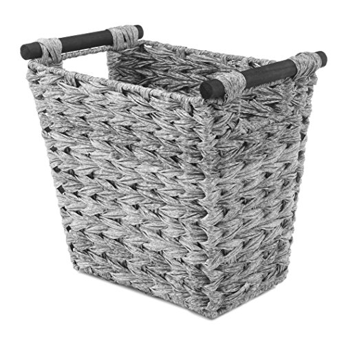 Whitmor Split Rattique Waste Basket with Wood Handles  Gray Wash