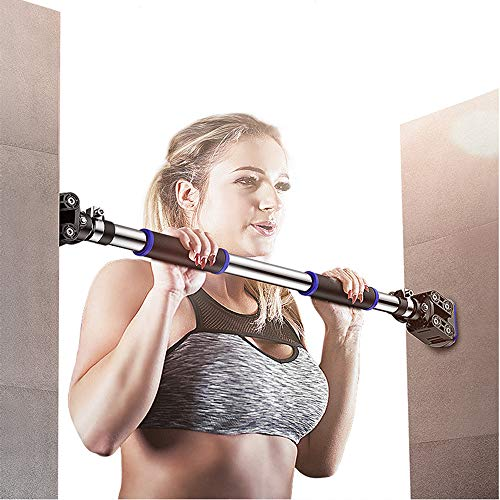 "FEIERDUN Doorway Pull Up and Chin Up Bar Upper Body Workout Bar for Home Gym Exercise Fitness & 440 LBS (Blue, L28.3~36.2"")"