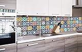 DIMEX LINE Paraschizzi Auto-Adesiva per la Cucina Vintage Piastrelle 260 x 60 cm | Resistente all'Acqua | QUALITA' Premium