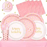 Partybus Party Supplies Set - Serves 16, 118 Ct, Pink and Gold Dots Theme Party Disposable Tableware Kit for...