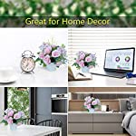 laponee artificial rose flowers with vase fake silk rose flowers decoration for table home office party meeting room party (pink)