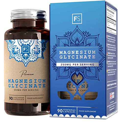 FS Magnesium Glycinate Capsules | 1250mg Glycinate Providing 250mg Pure Elemental Magnesium Per Serving | 90 Vegan Caps | Magnesium Bisglycinate Supplement | Non GMO, Dairy & Gluten Free | Made in UK
