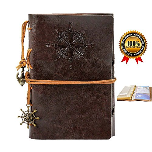 Leather Journal Diary Notebook,Refillable Travelers Vintage Journals to Write in,Spiral Notebook Pocket Journals,7 Inches,Coffee Color