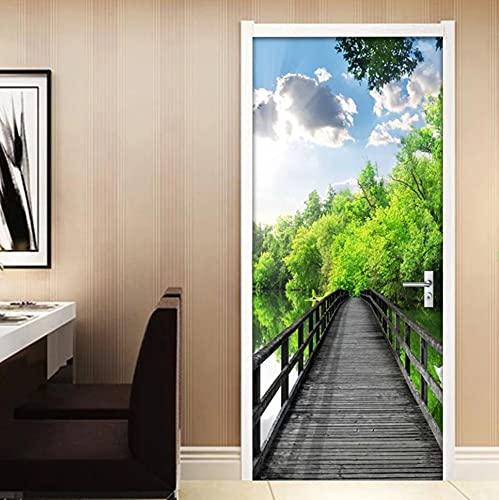 PVC impermeable autoadhesivo puerta pegatina papel tapiz calcomanías de pared sala de estar dormitorio puerta pegatina 3D puente de madera bosque Mural 77 * 200 cm