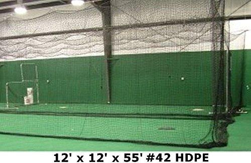 Jones Sports Batting Cage Net 12' W x 12' H x 55' L #42 HDPE Heavy Duty Baseball Softball Netting