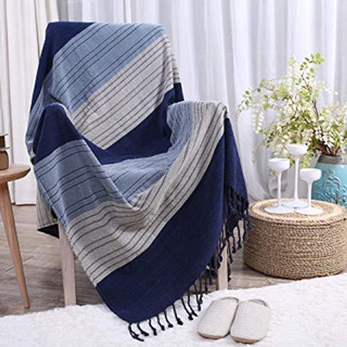 ZJXSNEH Manta de Chenilla Manta de Sofá Gruesa Manta de Ocio de Toalla de Sofá Rayas Azules 210Cmx250Cm