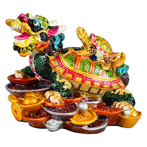 SHUTING2020 Estatuas de Feng Shui Escultura Feng Shui cerámica Coloreado dragón Tortuga Estatua Riqueza Prosperidad Mejor estreno de una casa de felicitación del hogar del Regalo Estatua de Riqueza